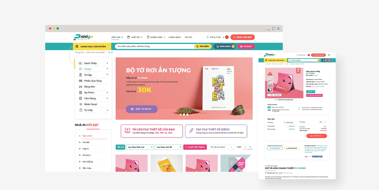 Giao diện website của Printgo