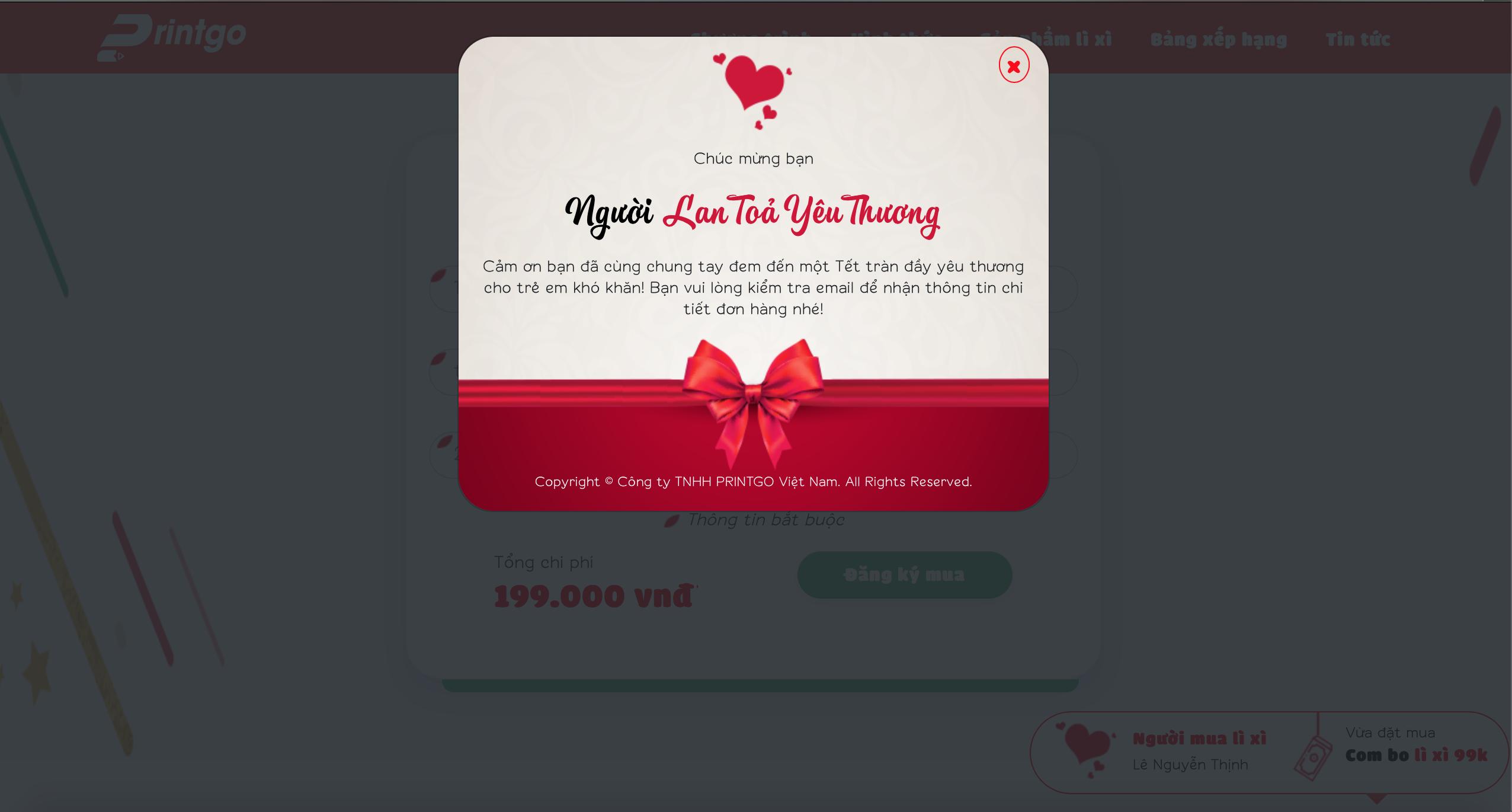 Hướng dẫn đặt hàng và đóng góp cho chương trình Lì xì Yêu thương