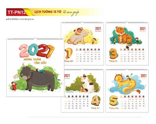 Mẫu lịch Tết Tân Sửu 2021