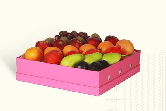 Nhận in hộp đựng hoa quả màu hồng