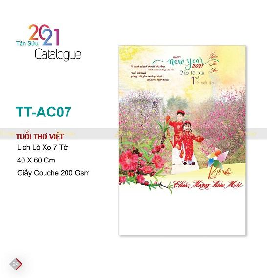 Mẫu lịch treo tường 7 tờ TT-AC07