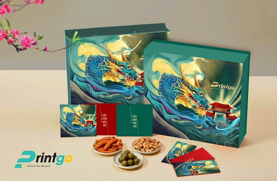 """Mẫu hộp quà Tết chủ đề """"Cá Chép Hóa Rồng"""" HQT21-08"""