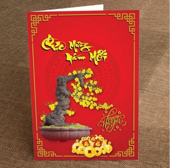 Mẫu thiệp chúc mừng năm mới Hoa Mai Vàng