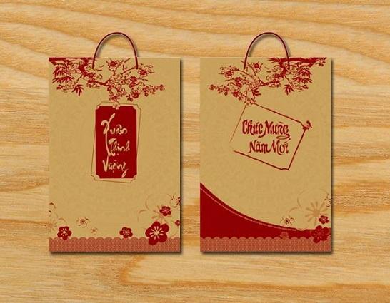 """Mẫu túi giấy Kraft đựng quà tết """"Xuân thịnh vượng"""" TQT-19"""