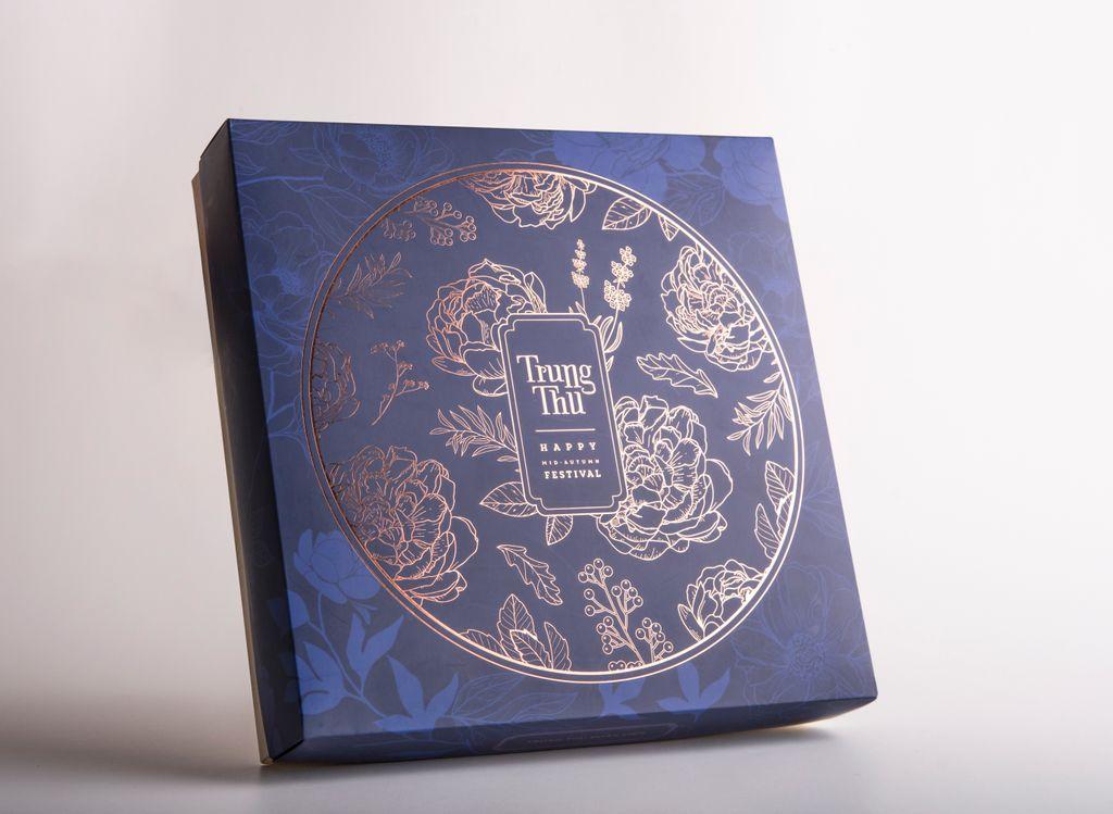 In hộp bánh trung thu giấy Ivory hộp bao diêm 4 bánh