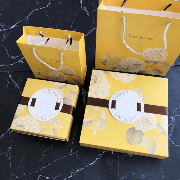 Bộ túi hộp Trung thu cẩm tú cầu 6 bánh 80gr