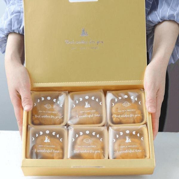 Bộ túi hộp trung thu Thỏ Trăng 6 bánh 80gr